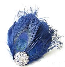 Navy Blue Silver Peacock Feather Fascinator Hair Clip Headpiece Races Vtg 1814