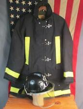 Vintage Firefighters Helmet w/ Bunker Turnout Jacket/Coat Annville Fire Dept PA.