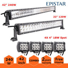 "42"" 240W LED Light Bar Combo+ 22"" 120W+4X 18W Spot Pods Offroad Ford Jeep Screws"