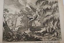 GRAVURE SUR CUIVRE FUITE D'ELIE JEZABEL-BIBLE 1670 LEMAISTRE DE SACY  (B112)