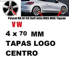 4 x TAPA PARA LLANTA VW DE 70 mm EMBLEMA LOGO VOLKSWAGEN PLATEADO golf polo