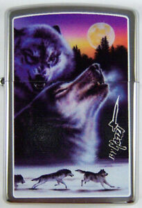 """Zippo by Mazzi """"UNTAMED WOLF"""" Printed Lighter on Brushed Chrome finish, New"""