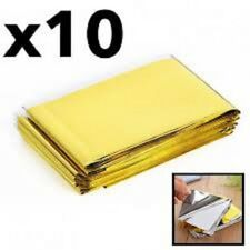GOLD-10 PACK • Emergency Solar Blanket Survival Safety Insulating Mylar Thermal