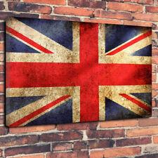 "Vintage Union Jack Flag Printed Box Canvas Picture A1.30""x20"" 30mm Deep UK"