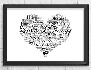Personalised Heart Gift Wedding Anniversary Word Art Print For Him Her Frame