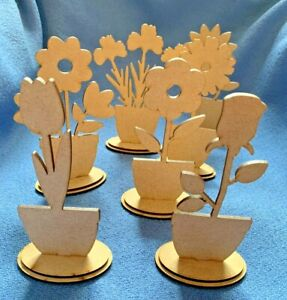 Wooden MDF Flower Craft Shapes Blanks 3mm thick Spring, Gifts, Teacher, Birthday