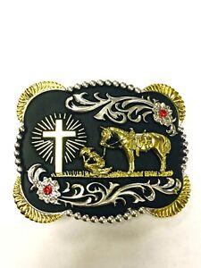Praying Cowboy Horse Cross Faith Animal Rodeo Western Fashion Belt Buckle