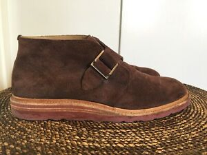 COLE HAAN Mens Sz 8.5M Brown Suede Monk Strap Wedge Sole Ankle Chukka Boots EUC