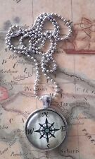 COMPASS ROSE Steampunk Cosplay Nautical PENDANT NECKLACE & SILVER CHAIN Xmas!