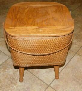 21 #1238 Vintage Wicker & wood Standing Sewing Knitting  Basket Box Chest Stand