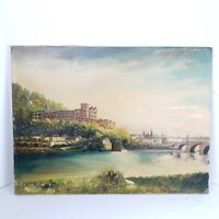 """Vintage E Ruscha Oil Painting Canvas Landscape River Cathedral 23 5/8""""×17 5/8"""""""