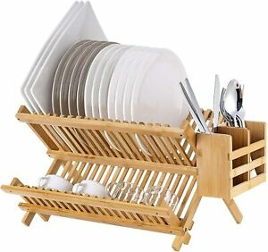 Sevin Clover Bamboo Dish Rack Dish Drying Utensils Holder Set for Kitchen(Wood)