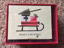 PAPYRUS Merry Christmas cards Sled- Set of 20 NIB
