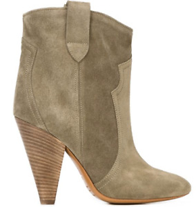 ISABEL MARANT Roxann Olive Army Green Suede Leather Western Heel Boot 37/7