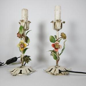 S326 COPPIA ANTICHE ABATJOUR LAMPADE DA COMODINO FLOREALI FERRO FIORI COLORATI