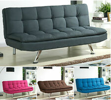 Padded Sofa Bed Fabric 3 Seater Padded Sofabed Suite Chrome Legs Cube Design New
