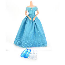 1 Pcs Princess Gown Dress 2 Pairs Blue White Crystal Shoes for Barbies Dolls evA