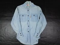 Vtg Levi's Men's Chambray Orange Tab Light Blue Button Shirt Small 70s