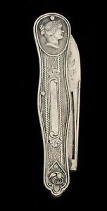 ANTIQUE MEDALLION STERLING SILVER FOLDING POCKET KNIFE