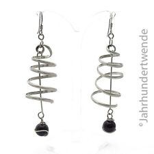 Modernist Silber Ohrringe Spirale Feder silver earrings spiral onyx paste 🍀🍀🍀