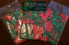 """Vtg J.C. Penny Cotton Christmas Holiday Poinsettias Hollyberry Pillow Covers 17"""""""