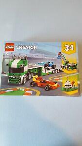 LEGO 31113 Creator 3-in-1 Rennwagentransporter mit Anhänger, Kran und Schlepper