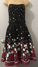 DEBENHAMS RED HERRING BLACK SPOTTED STRAPLESS BANDEAU DRESS SIZE 8