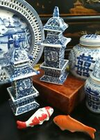 Stunning Pair Blue White Porcelain Chinoiserie Pagoda Ginger Tea Jar Vase - 8""