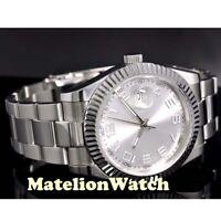Parnis 40mm automatic men's watch sapphire glass luminous silver dial waterproof