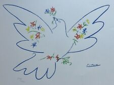 PABLO PICASSO COLOMBE AVEC FLEURS SIGNED HAND NUMBERED LITHO DOVE WITH FLOWERS