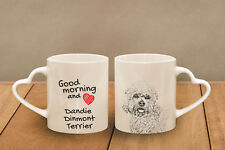 "Dandie Dinmont Terrier - ceramic cup, mug ""Good morning and love, heart"", Usa"