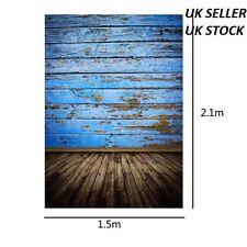 5x7ft 2.1x1.5cm Blue Wood Floor photography Backdrop Background Studio Photo Pro