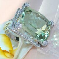 Women Chic 925 Silver Natural Gemstone Prehnite Ring Wedding Jewelry Gift 6-10