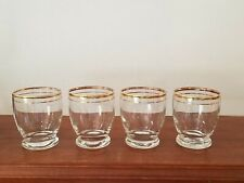 Vintage cordial shot glasses (Set of 4), Gold rims, barware, drinkware, drinks