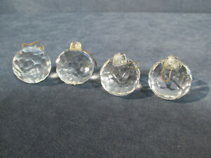 Prisms Crystal Balls Faceted Round Glass Vtg Chandelier Parts Suncatcher 4pcs