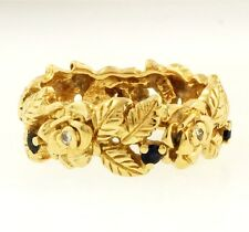 14Carat Yellow Gold Sapphire Floral Effect Band (Size N 1/2)