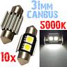 10 Ampoule Navette 31mm 5000k LED SMD 2x5050 Blanc Compteur Voiture PLAQUE 2A9 2