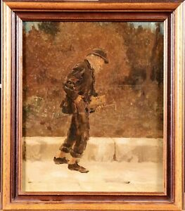 19th CENTURY SIGNED OIL ON CANVAS - PORTRAIT OLD MAN STREET - EX: CHRISTIE'S