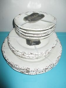 Il Mulino MELAMINE Salad Dinner Bowl Plate Set 12 Round Tableware Beige Crackle