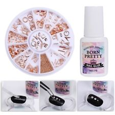 2Pcs/set Nail Art 3D Decoration in Wheel Fast Dry Rhinestones Nail Glue Manicure