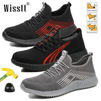 Women Safety Extra Wide Work Shoes Steel Toe Boots Breathable Mesh Sneakers 2019