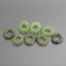 JADE GREEN CABOCHON OVAL BUCKLES Fluted 14 x 11 mm Emerald Green / Box