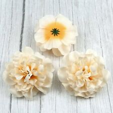 Large 10Pcs Artificial Peony Beige Silk Fake Flower Heads For DIY Wreath Crafts