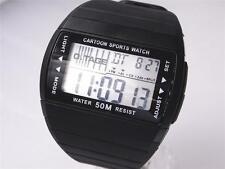 Men Boy Digital Watch Biking Sports Alarm Date Day Light Stopwatch Black Plastic