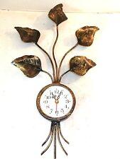 Grande orologio da parete FOGLIE in FERRO BATTUTO ORO al quarzo