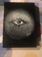 Original Quarentine Art On Wood Moon Lovers Third Eye 4x5