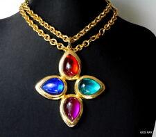 Couture Large Multi Color Gripoix Lucite Cabochons Gold Cross Pendant Necklace