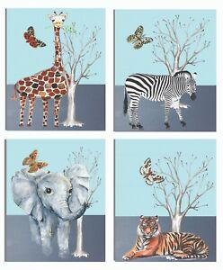 Jungle Animals nursery art, 4 8x10 inch nursery art prints for baby shower gift