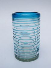 Mexican Glassware - Aqua Blue Spiral drinking glasses (set of 6)