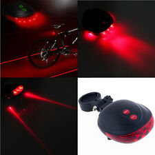 2 Laser 5 LED Beam Lamp Light Rear Cycling Bicycle Bike Tail Safety Alarm New